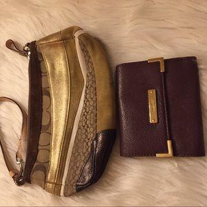 Authentic Coach Handbag With Nine West Wallet